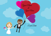 Save the Date Couple with Heart Balloons